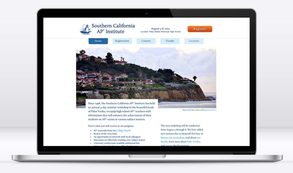 SCalifAP website on a laptop