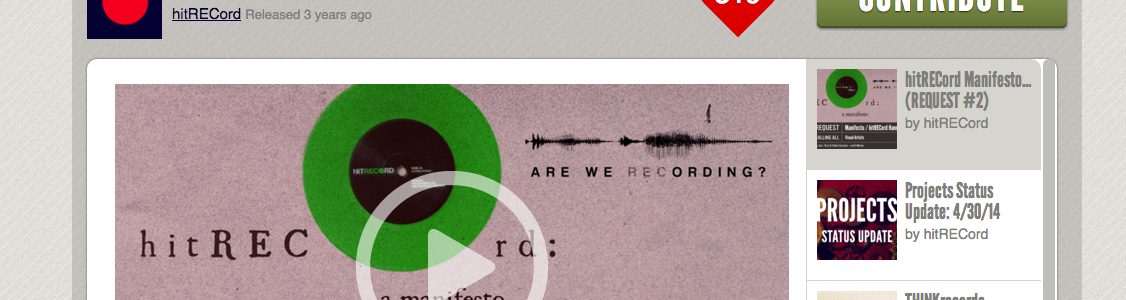 Screenshot of hitRECord manifesto collaboration