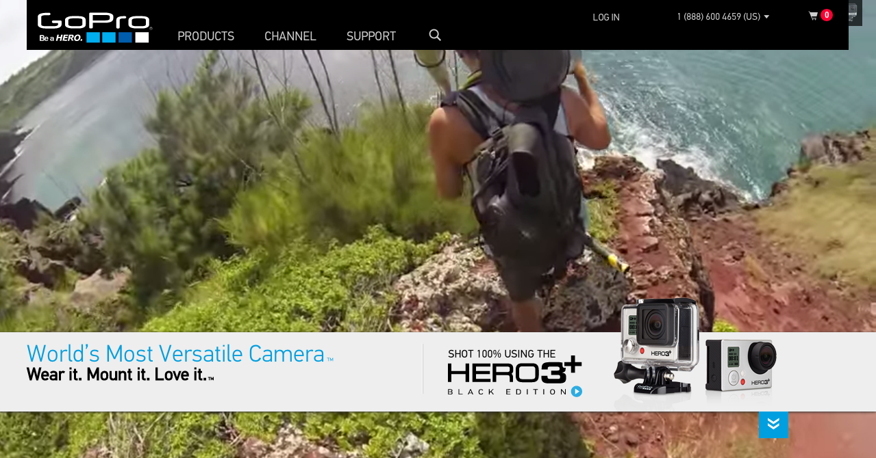 Home page of GoPro cameras