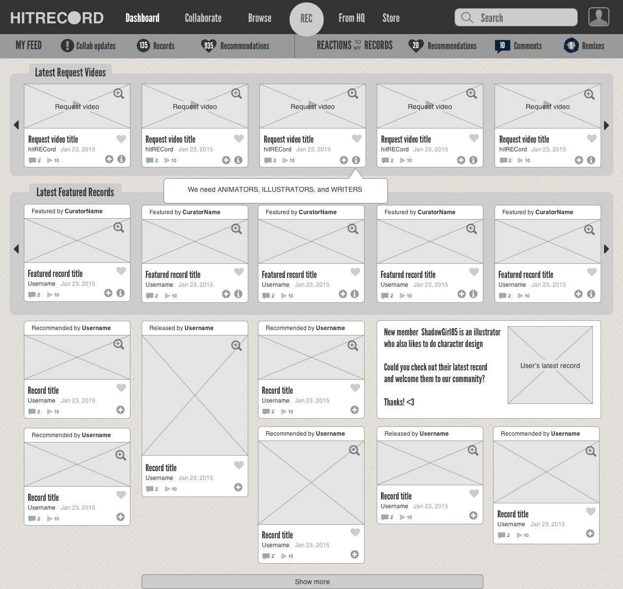 Wireframe for redesigned dashboard page on HitRECord.org